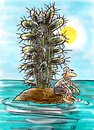 Cartoon: insel (small) by GB tagged insel,island,isle,islet,dessert,cactus,palmtree,schiffbrüchiger,palme,kaktus,sand,strand,meer,ozean,ocean,mare
