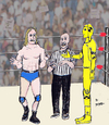 Cartoon: Ok lets wrestle (small) by optimystical tagged strange,opponent,wrestler,wrestling,referee,match,sports,event,crowd,cheers,crash,test,dummie