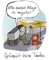 Cartoon: Optimist beim Tanken (small) by sikitu tagged tanken,tankstelle,optimist,zapfsäule,super,sprit,lastwagen,benzin,diesel,ölpreis,ölkrise,opec,biosprit,biodiesel,esso,aral,bp,pessimist,negativ