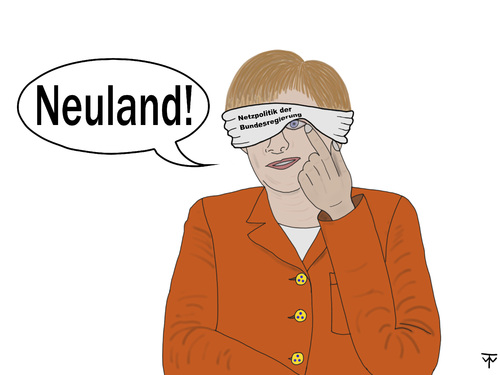 Cartoon: Neuland! (medium) by thalasso tagged bundesregierung,netzpolitik,neuland,merkel,angela,internet