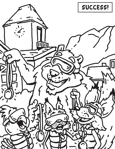 Cartoon: Adaptive Spirit Coloring Book 7 (medium) by karlwimer tagged bear,lynx,fox,falcon,ski,snowboard,mountain,vail,winter,snow,medals,clocktower,paralympic