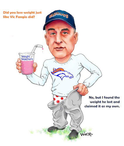 Cartoon: Coach Fangio Weight Loss (medium) by karlwimer tagged denver,broncos,vic,fangio,nfl,american,football,sports,coach,weight,loss