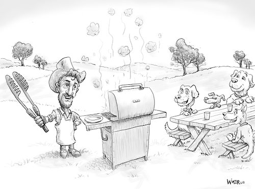 Cartoon: Dog BBQ create a caption (medium) by karlwimer tagged barbecue,bbq,picnic,cookout,dogs
