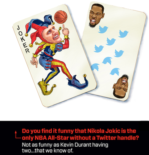 Cartoon: Jokic Durant NBA Cards (medium) by karlwimer tagged nba,basketball,jokic,durant,nuggets,playing,cards