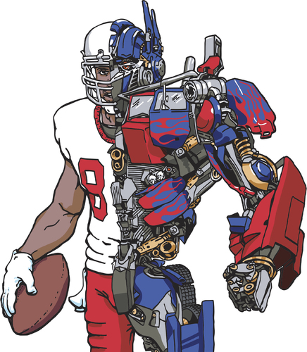 Cartoon: Optimus Pryor (medium) by karlwimer tagged transformer,terrelle,pryor,optimus,prime,football,american,quarterback,receiver,sports,robot