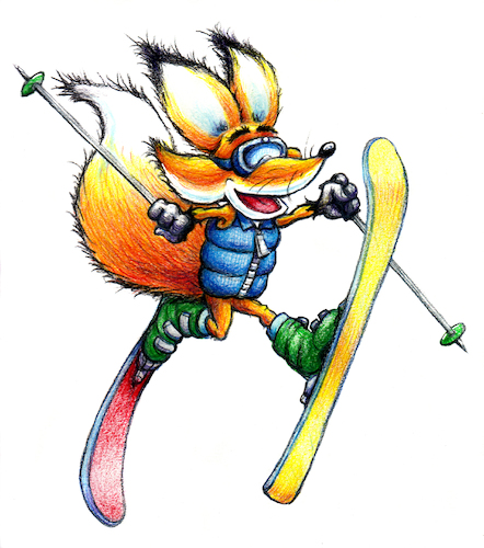 Cartoon: Sammy Daffy Ski Jump (medium) by karlwimer tagged fox,ski,snow,wintersports,skis,poles,winter