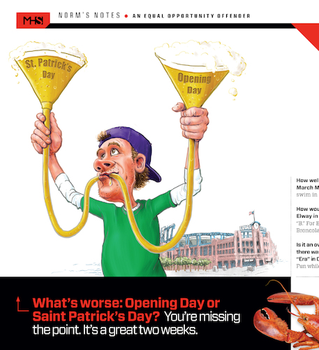 Cartoon: St Pattys Opening Day (medium) by karlwimer tagged denver,st,patricks,opening,day,baseball,colorado,rockies,funnel,beerbong