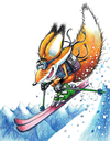 Cartoon: Sammy Free Ski (small) by karlwimer tagged ski,sammy,freeski,mascot,fox,schilaufen,schi,mountain,snow