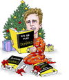 Cartoon: Trevor Siemian Christmas (small) by karlwimer tagged broncos,denver,football,american,siemian,quarterback,sports,christmas,presents