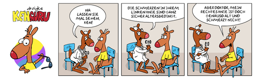 Cartoon: KenGuru Umkehrschluss (medium) by droigks tagged arzt,diagnose,altersbedingt,verschleiss,droigks,känguru,gleichbehandlung,arthrose,arzt,diagnose,altersbedingt,verschleiss,droigks,känguru,gleichbehandlung,arthrose