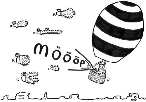 Cartoon: vorletzte geräusche -mööp- (medium) by XombieLarry tagged baloon,kactus,wings