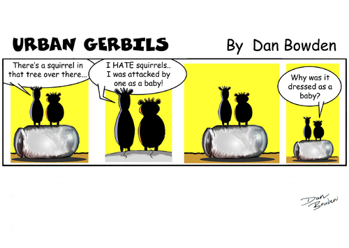 Cartoon: Urban gerbils. Squirrels (medium) by Danno tagged comic,cartoon,strips,traditional,funny,panel,humor,gerbil,squirrel