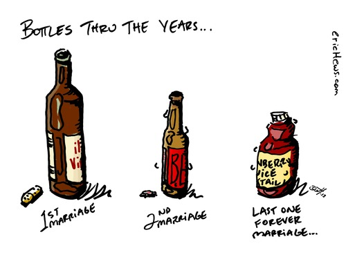 Cartoon: bottles thru the years (medium) by ericHews tagged life,wine,beer,drink,marriage,first,second,love,hate,cope,coping,drunk,inebriate,divorce,last,relationships