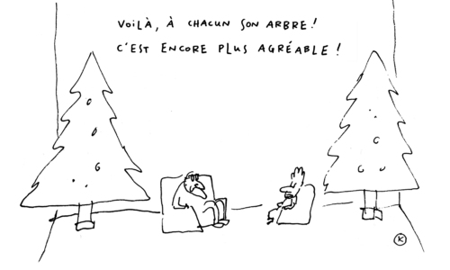 Cartoon: A chacun son arbre (medium) by Kamagurka tagged noel,arbre,de