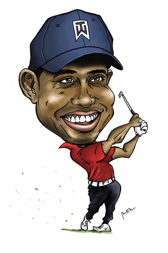 Cartoon: Tiger Woods (medium) by Perics tagged caricature,golf,woods,tiger,pga