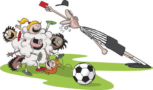 Cartoon: Bunch Ball (medium) by toonerman tagged football,soccer,youth,cartoon,children,kids,ball,sports,league,outdoor,kick,referee,red,card,game,match,competition