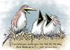 Cartoon: Bird Barf (small) by toonerman tagged rtoon,cartoon,birds,baby,nestlings,nest,hungry,humor,funny,open,mouth
