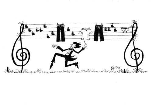 Cartoon: Musicians Washing Line 1 (medium) by Kerina Strevens tagged musicmusician,stave,notes,treble,clef,washing,line