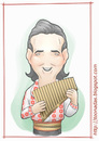 Cartoon: Gheorghe Zamfir (small) by Freelah tagged gheorghe,zamfir,pan,flute