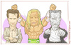 Cartoon: Mickey Rourke (small) by Freelah tagged mickey,hourke,angel,heart,wrestler,sin,city,the,ram,marv