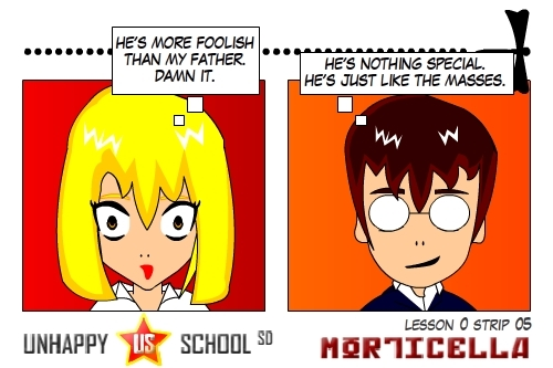 Cartoon: US lesson 0 Strip 5 (medium) by morticella tagged uslesson0,unhappy,school,morticella,manga