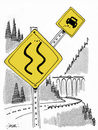 Cartoon: Dangerous Curves (small) by r8r tagged road,highway,sign,safety,first,pass,yield,dangerous,slippery,curve,drive,driving,motoring