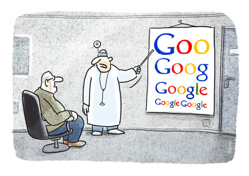 Cartoon: Die Googlebrille kommt... (medium) by markus-grolik tagged grolik,cartoon,googlemaps,optiker,optik,brillentest,brille,google