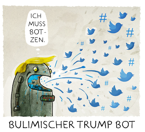 Cartoon: ...Twitter... (medium) by markus-grolik tagged tweed,hashtag,trump,manipulation,twitter,hacker,putin,vladimir,donald,internet,social,media,usa,wahlkampf,us,wahlen,clinton,republikaner,tv,bot,bots,troll,tweed,hashtag,trump,manipulation,twitter,hacker,putin,vladimir,donald,internet,social,media,usa,wahlkampf,us,wahlen,clinton,republikaner,tv,bot,bots,troll