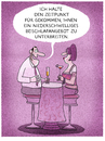 Cartoon: ...dating-sprech... (small) by markus-grolik tagged mann,frau,beziehung,dating,date,kennenlernen