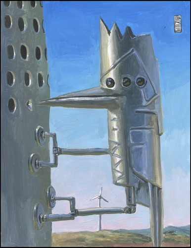 Cartoon: Robo-pecker (medium) by greg hergert tagged wind,power,woodpeckers,big,oil