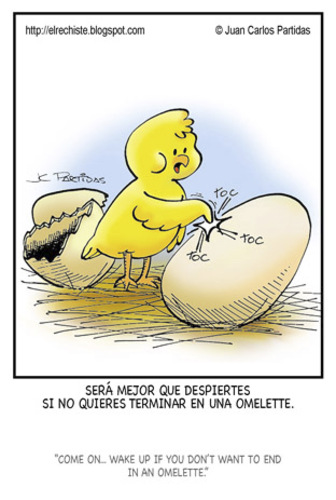 Cartoon: Hurry up! (medium) by Juan Carlos Partidas tagged brothers,omelette,knock,wake,up,hurry,egg,chicken