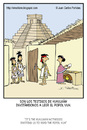 Cartoon: Witnesses (small) by Juan Carlos Partidas tagged witness,witnesses,maya,mayan,aztec,pyramid,central,america,prehispanic,culture,evangelize,popol,vuh,kukulkan,visit