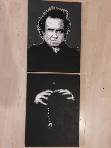 Cartoon: The Man In Black (medium) by Marcus Trepesch tagged johnny,cash,american,recordings,portrait