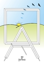 Cartoon: Frame and easel II (small) by Tonho tagged frame,and,easel,penrose,sun,picture