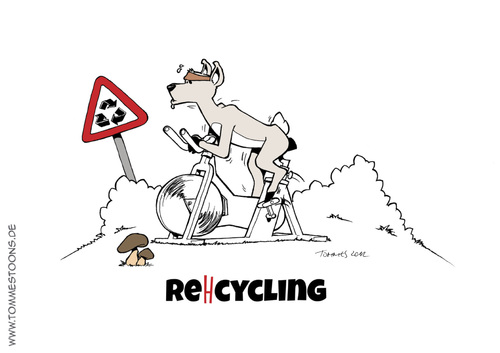 Cartoon: Reh-cycling (medium) by Tommestoons tagged reh,recycling,recyceln,cycling,spinning,jagd,jäger,wald,wiese,wild