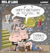 Cartoon: Still at large 85 (small) by bindslev tagged happy,birthday,birthdays,dungeons,torture,chamber,chambers,tortures,prisoners,jails,death,sentence,beheading,beheadings,congratulation,congratulations,dungeon,executioners,executioner,song,singing,chains,friends,guys,prisoner,jail,prison,party,greetings