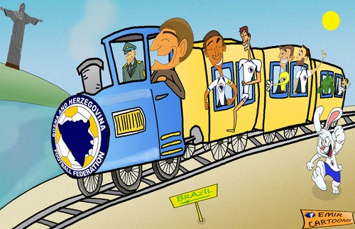 Cartoon: Bosnia and Herzegovina (medium) by emir cartoons tagged football,caricature,cartoon,emir,2014,brazil,herzegovina,and,bosnia