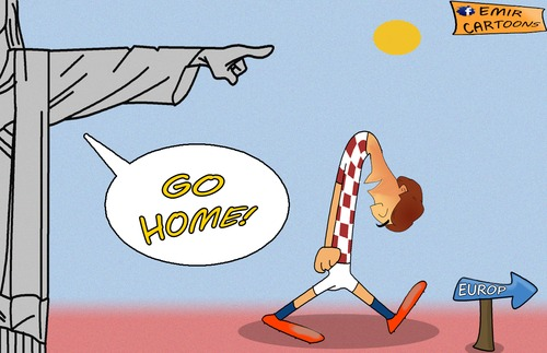 Cartoon: Croatia go home. (medium) by emir cartoons tagged croatia,brazil,2014,emir,cartoons,cartoon,caricature,football,worl,cup