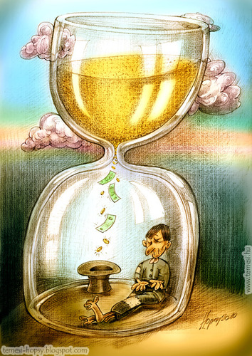 Cartoon: Time is money (medium) by hopsy tagged time,is,money,riches,richness,sucess,life,aim,pink,clouds,mountain,beggar,hat,hour,glass,sand,minute