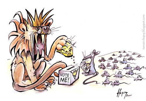 Cartoon: Vote Me (medium) by hopsy tagged me,vote,lion,cheese,mouse,government,parents