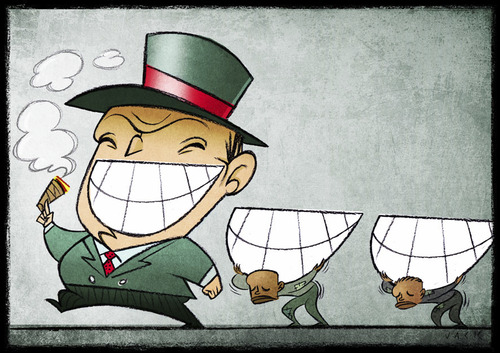 Cartoon: Bearers of Happiness (medium) by Giacomo tagged happiness,carriers,slaves,blacks,racism,exploitation,work,entrepreneur,rich,poor,smile,teeth,mouth,giacomo,cardelli,lombrioi