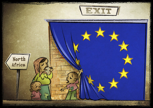 Cartoon: Exit (medium) by Giacomo tagged europe,war,libya,africa,north,tent,wall,refugees,policy,welcome,output,cardelli,giacomo