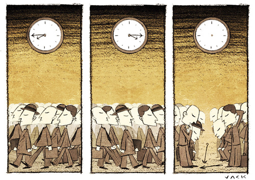 Cartoon: Is not there time (medium) by Giacomo tagged time,stress,now,company,work,watch,crowd,delay,people,trend,giacomo,cardelli,jack,lombrio