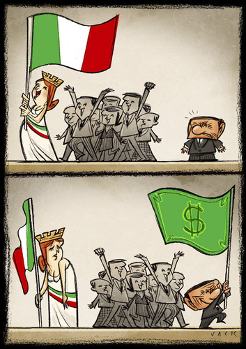 Cartoon: Italian and  flags (medium) by Giacomo tagged italian,italy,flags,berlusconi,policy,interests,bribes,blackmail,giacomo,cardelli