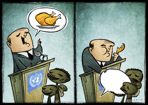 Cartoon: nato summit (medium) by Giacomo tagged nato,summit,beneficence,poverty,wealth,aid,hunger,food,chicken,policy,promises,campaign,g20g8,giacomo,cardelli