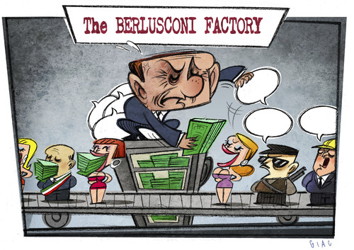 Cartoon: The BERLUSCONI FACTORY (medium) by Giacomo tagged berlusconi,corruption,conspiracy,of,silence,mafia,escort,political,buy,factory,money,policy,giacomo,cardelli