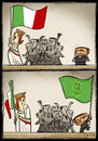 Cartoon: Italian and  flags (small) by Giacomo tagged italian,italy,flags,berlusconi,policy,interests,bribes,blackmail,giacomo,cardelli