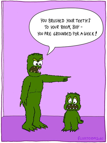 Cartoon: DEFIANT (medium) by fcartoons tagged defiant,monster,brush,teeth,clean,angry,father,son,room,ground,boy