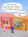 Cartoon: THE LITTLE BLACK ONE (small) by fcartoons tagged little,black,one,cartoon,skunk,shop,man,woman,store,pet,listen,buy,windows,boutique,dress,pink,misunderstanding,birthday,geburtstag,tier,kleid