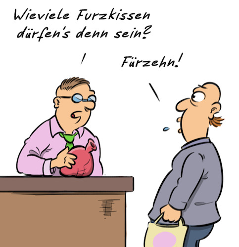 Cartoon: Furz (medium) by Rob tagged furz,furzen,fürze,furzkissen,fart,farts